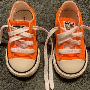 Size 5T bright orange converse